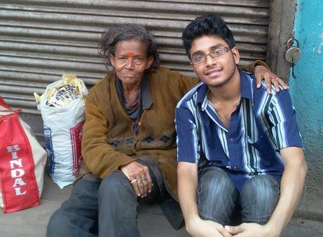 Gourav & old woman in street pic