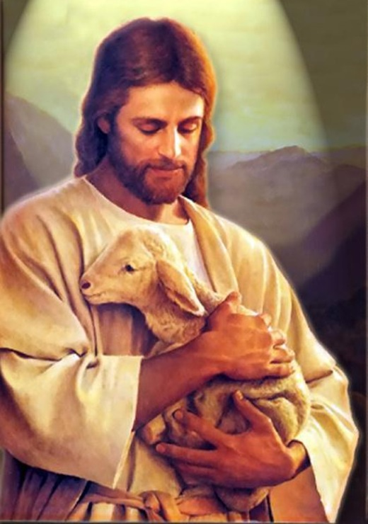 Jesus Holding Lamb to His Chest